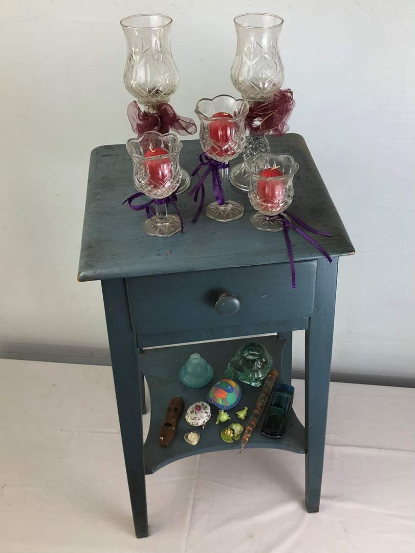 Lot # 51 - Vintage Side Table with Drawer + Extras (main image)