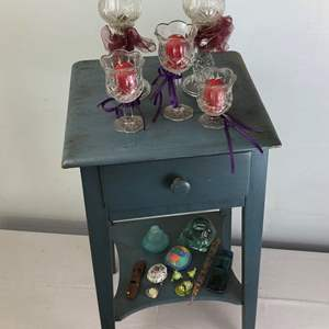 Lot # 51 - Vintage Side Table with Drawer + Extras