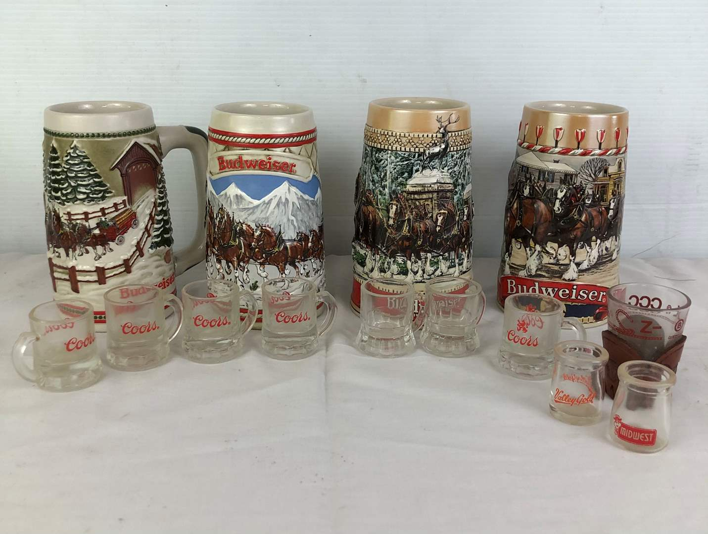 Lot # 54 - Budweiser Mugs Coors Glasses Shot Glass (main image)
