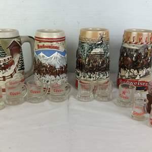 Lot # 54 - Budweiser Mugs Coors Glasses Shot Glass