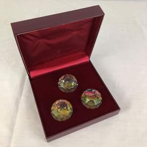 Lot # 55 -  Swarovski Silver Crystal - 3 Crystal Paperweights