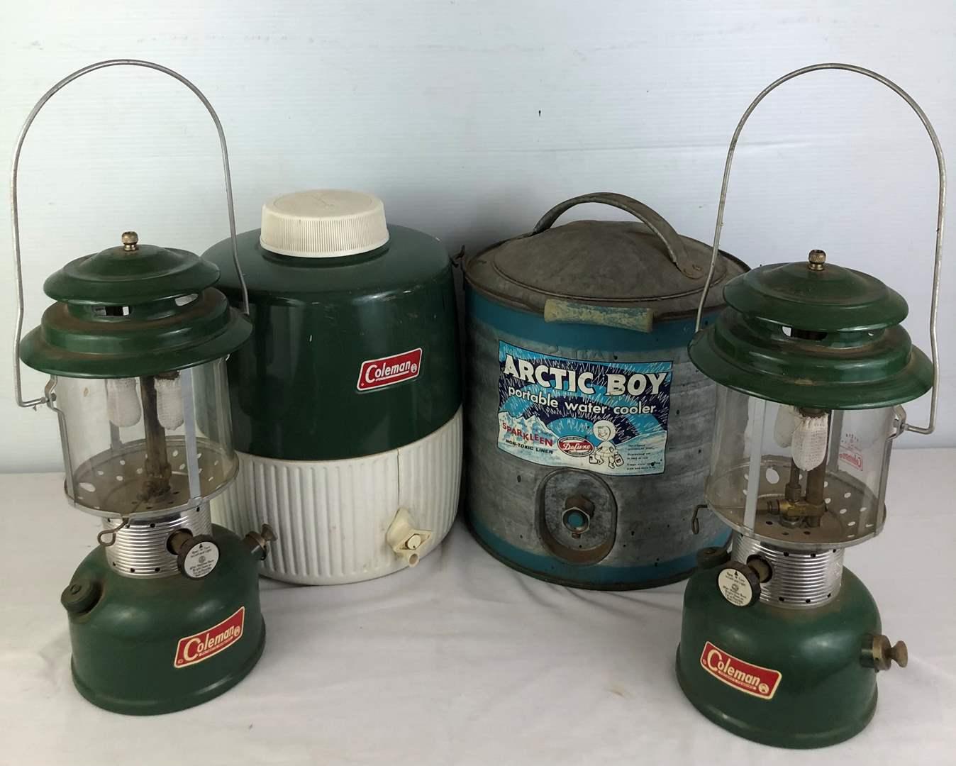 Lot # 57 - 2 Coleman Lanterns - Coleman Water Cooler - Arctic Boy Water Cooler (main image)