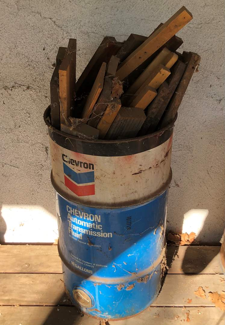 Lot # 86 - Lot of Scrap Wood and Metal Barrels (main image)