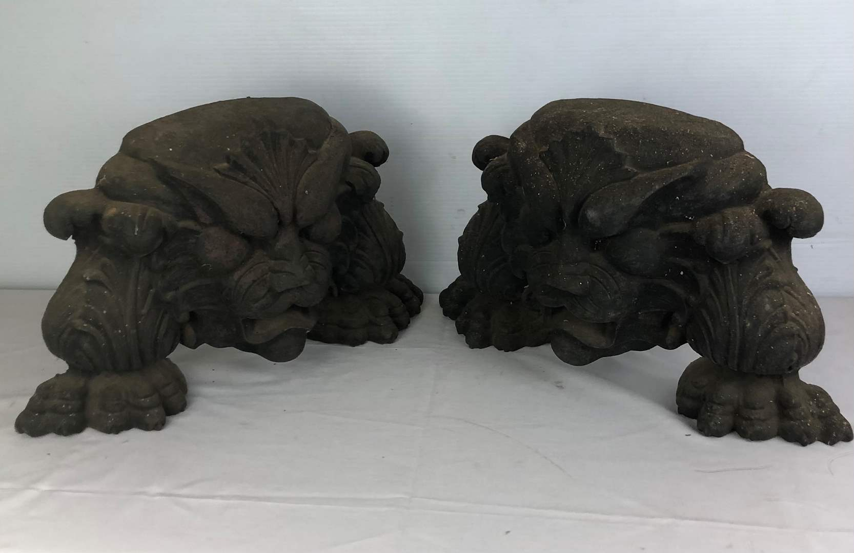 Lot # 90 - Vintage Foo Dog Cast Iron Decorative Pieces