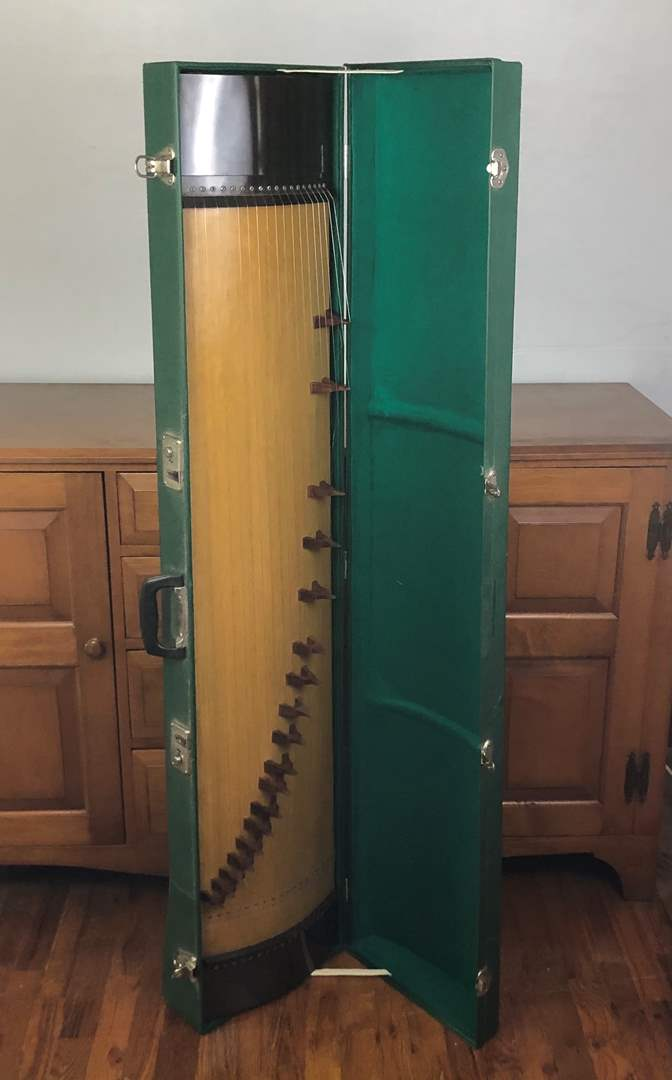 """Lot # 95 - Vintage Chinese Harp """"Guzheng"""" with Case"""