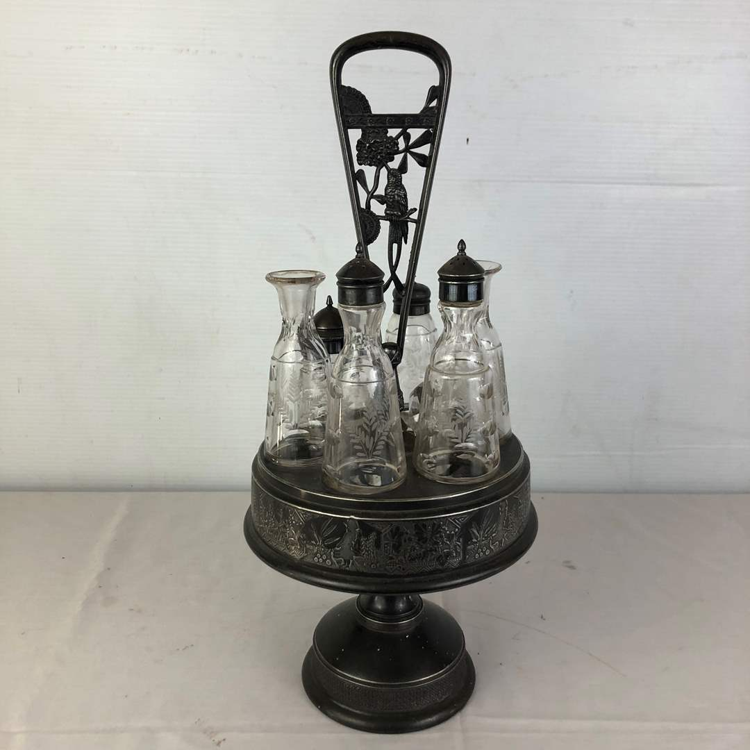 Lot # 106 - Antique Silver Plate Co Salt Pepper Oil Vinegar Cruet Castor Set