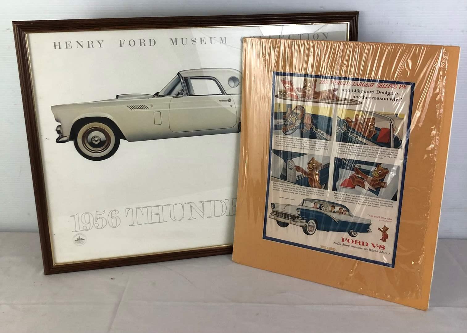 Lot # 114 - Vintage Ford Advertisement & 1956 Signed Thunderbird Print.