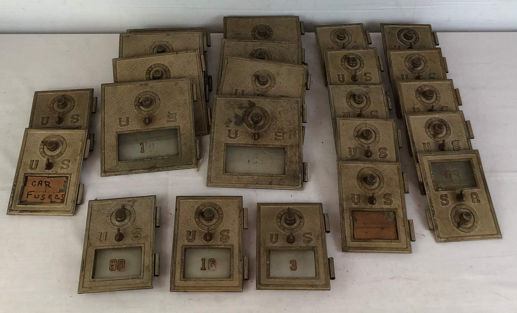 Lot # 120 -  Vintage Post Office Box Combination Lock Doors - 22 Total. (main image)