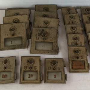 Lot # 120 -  Vintage Post Office Box Combination Lock Doors - 22 Total.