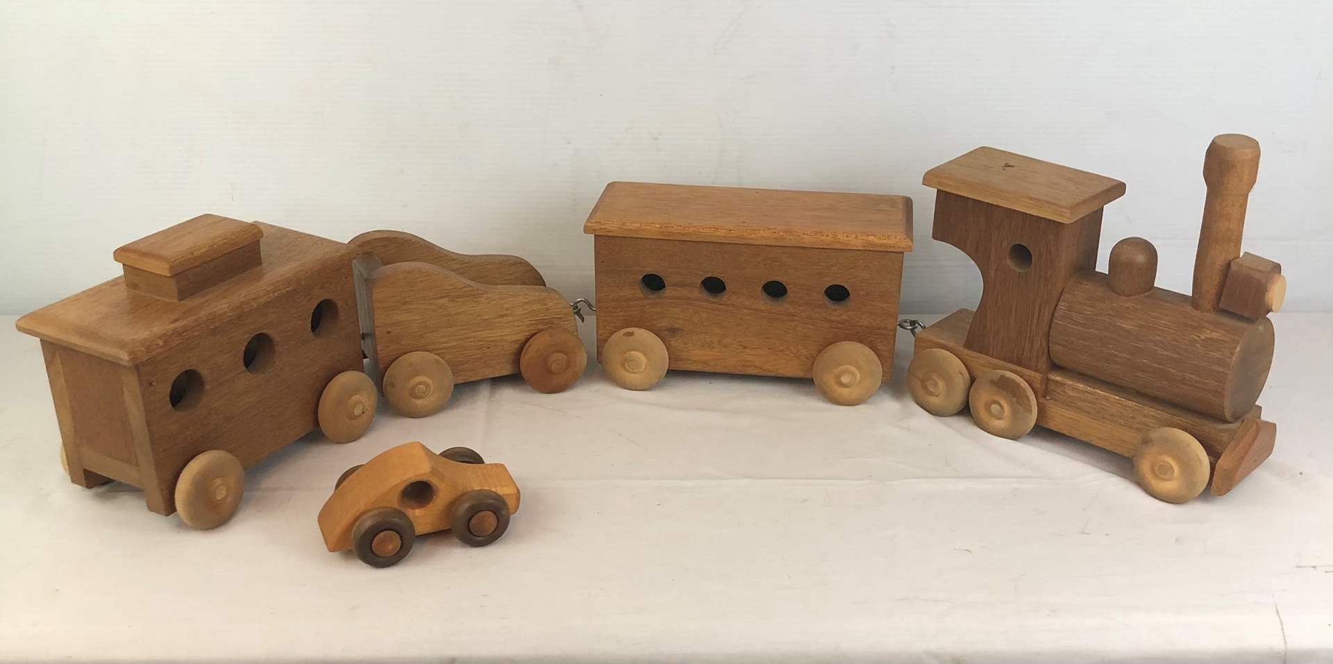 Lot # 121 - Hand Crafted Wooden Train Set (main image)