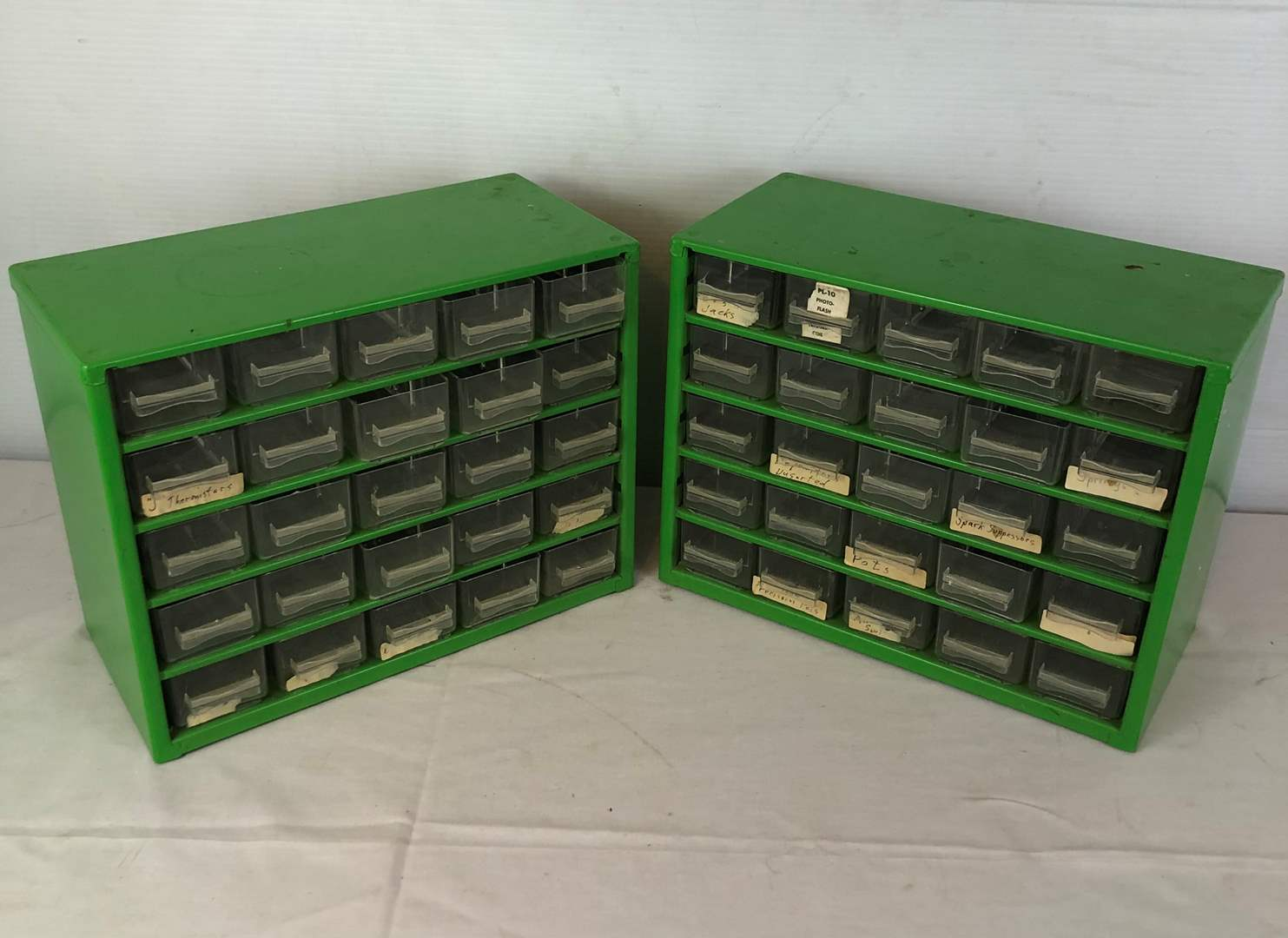Lot # 123 -  2 Metal Parts Cabinets with Plastic Drawers (main image)