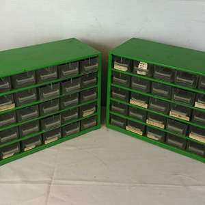 Lot # 123 -  2 Metal Parts Cabinets with Plastic Drawers