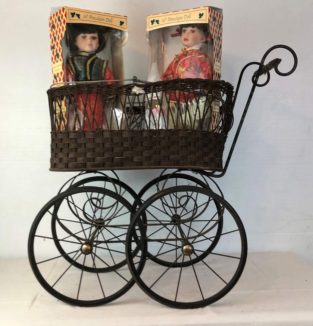 Lot # 124 - Vintage Baby Buggy with 2 Vintage Dolls (main image)