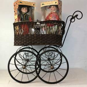 Lot # 124 - Vintage Baby Buggy with 2 Vintage Dolls