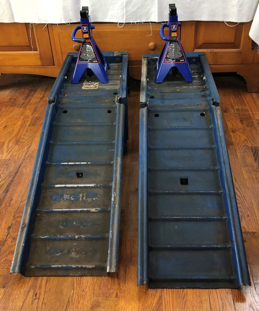 Lot # 136 - Pair of Auto Ramps and Jack Stands