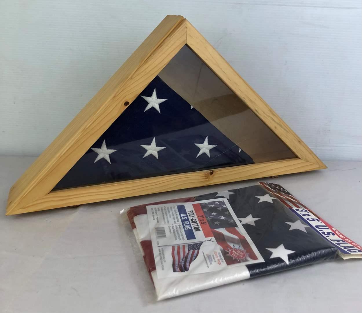 Lot # 145 - 2 Flags and Flag Box (main image)