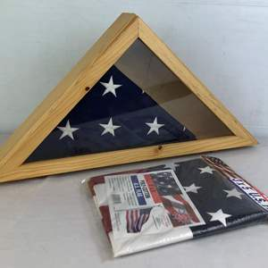 Lot # 145 - 2 Flags and Flag Box