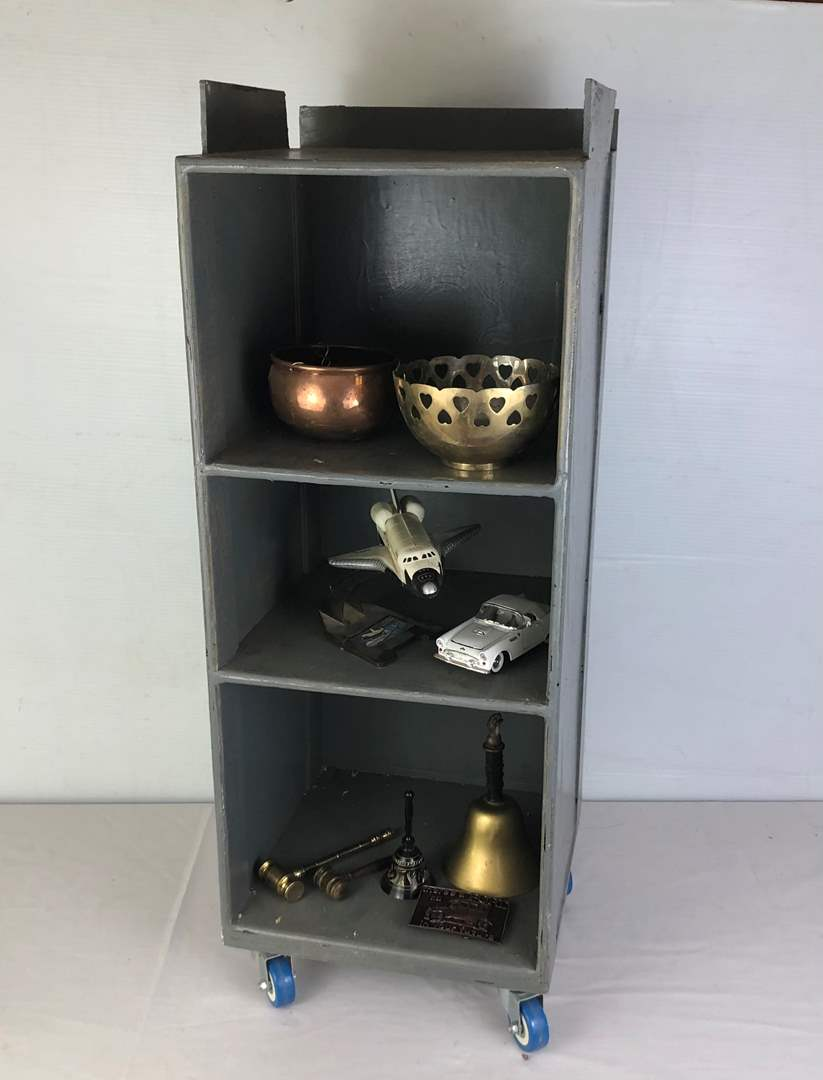 Lot # 146 - Rolling Wood Shelf with Various Items (main image)