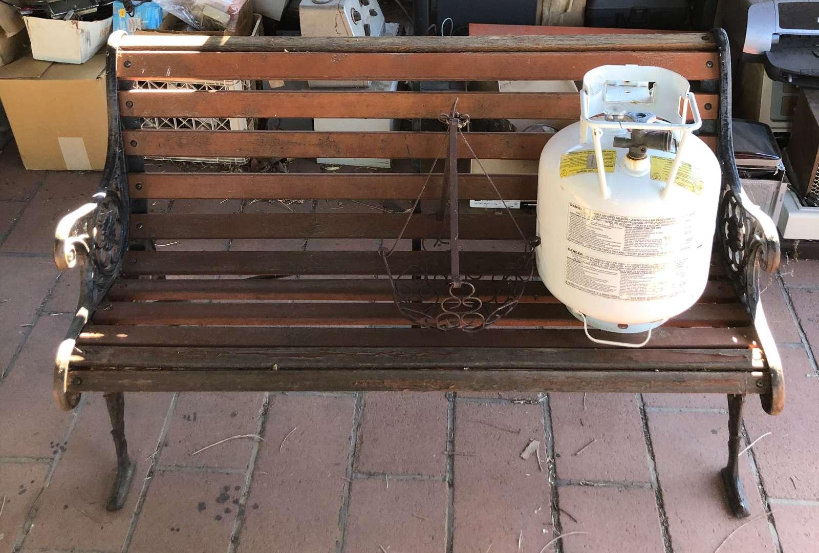 Lot # 157 - Iron and Wood Bench - Propane Tank - Iron Basket