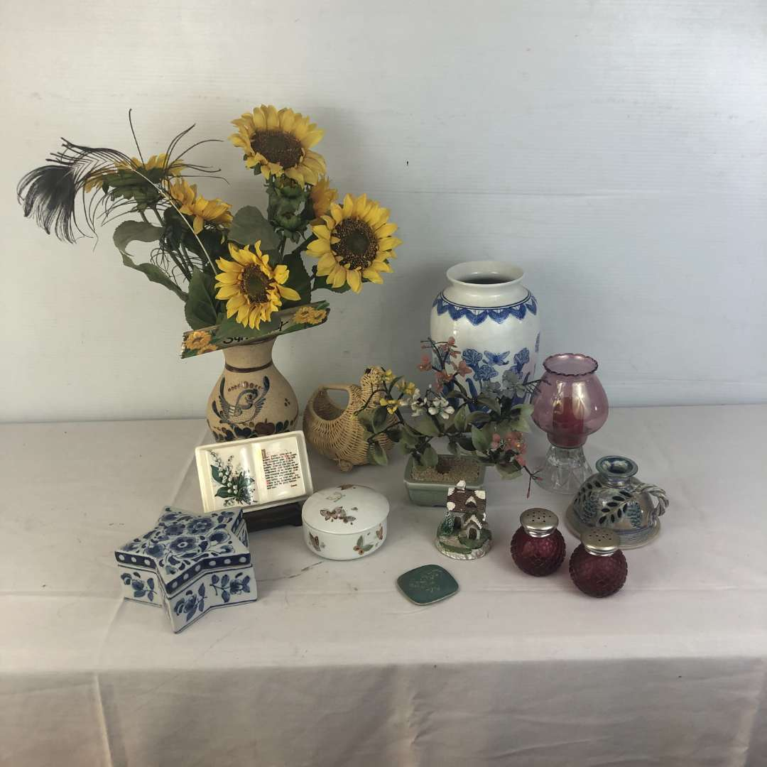 Lot # 167 - Lot of Vases Salt and Pepper Shakers Candle holders and more