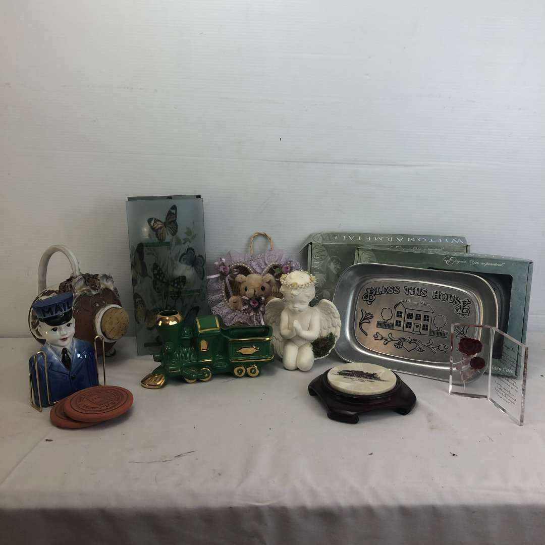 Lot # 174 - Lot of Various Items, Plates, Coasters, Train.
