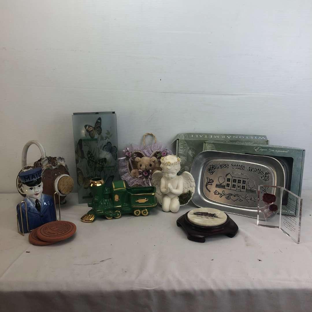 Lot # 174 - Lot of Various Items, Plates, Coasters, Train. (main image)