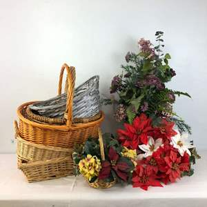Lot # 179 - Lot of Baskets and Artificial Flowers