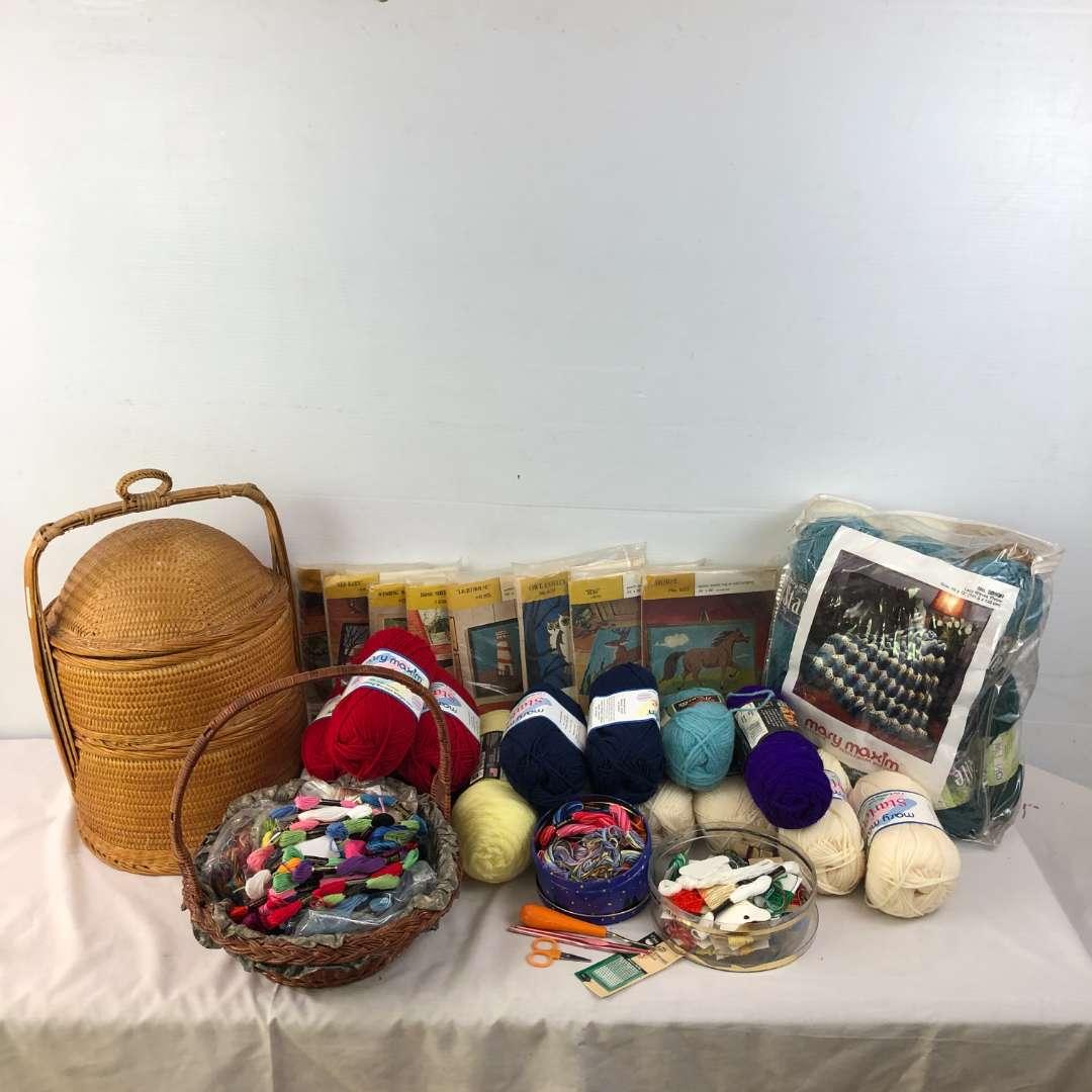 Lot # 192 - Large Craft Lot - Yarn - Thread - Punch Needle Kits