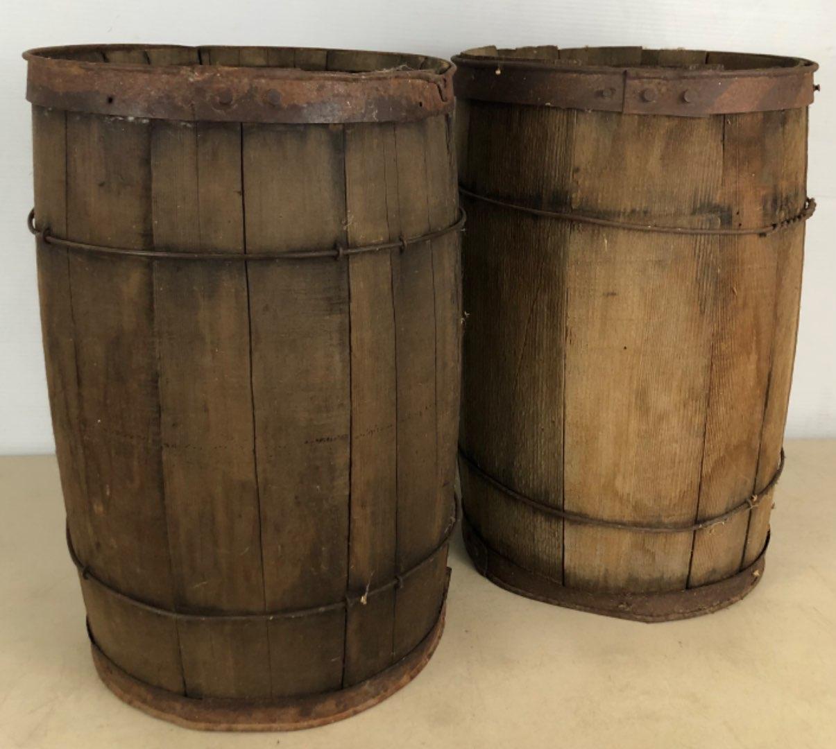 Lot # 63 -  Vintage Wood Nail Barrels