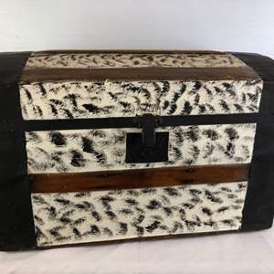 Lot # 64 - Vintage Trunk filled with Various Cross Stitch Pieces and Vintage Lingerie.