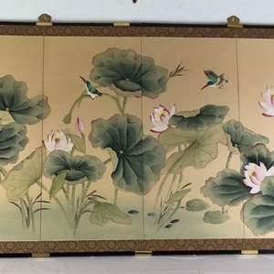 Lot # 74 - 4 Panel Screen Hummingbird and Flowers