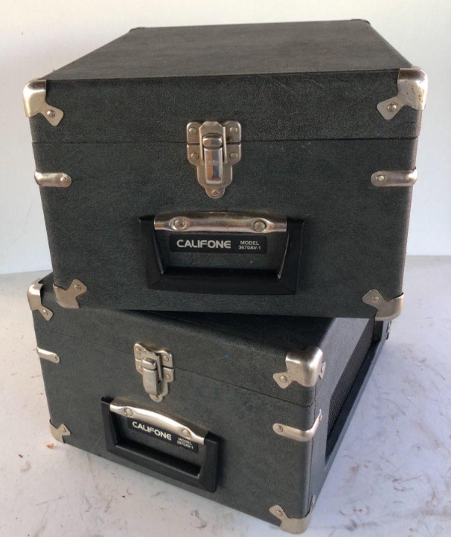 Lot # 170 - 2 Vintage Califone 3670AV-1 Portable Cassette Recorder Player with Hard Case