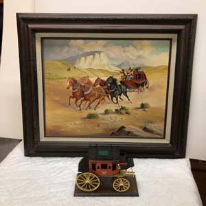 Lot # 181 - Stagecoach Framed Picture and Oscar Cortes Wells Fargo Bank Stagecoach Model
