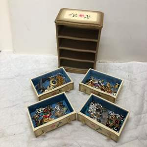 Lot # 194 - Vintage Jewelry Box filled with vintage Costume Jewelry