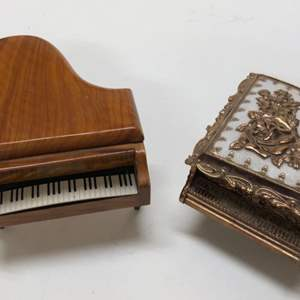 Lot # 197 - 2 Piano Jewelry Boxes - One is a Music Box