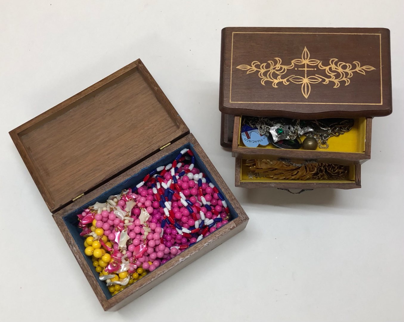 Lot # 199 - 2 Jewelry Boxes with Razza and ART brand Vintage Costume Jewelry