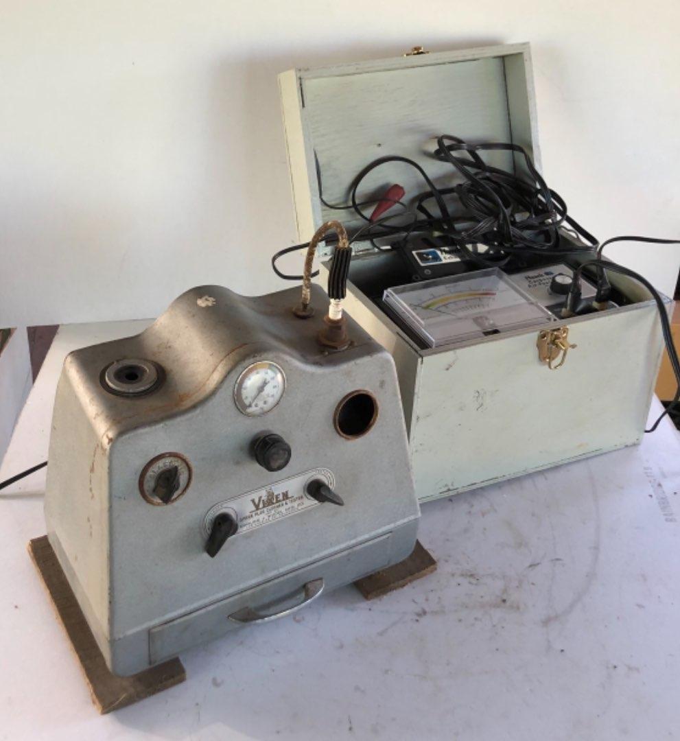 Lot # 202 - Vintage Equipment, Vixen Spark Plug Cleaner and Tester and Hawk Carburetor Air-Fuel Tester