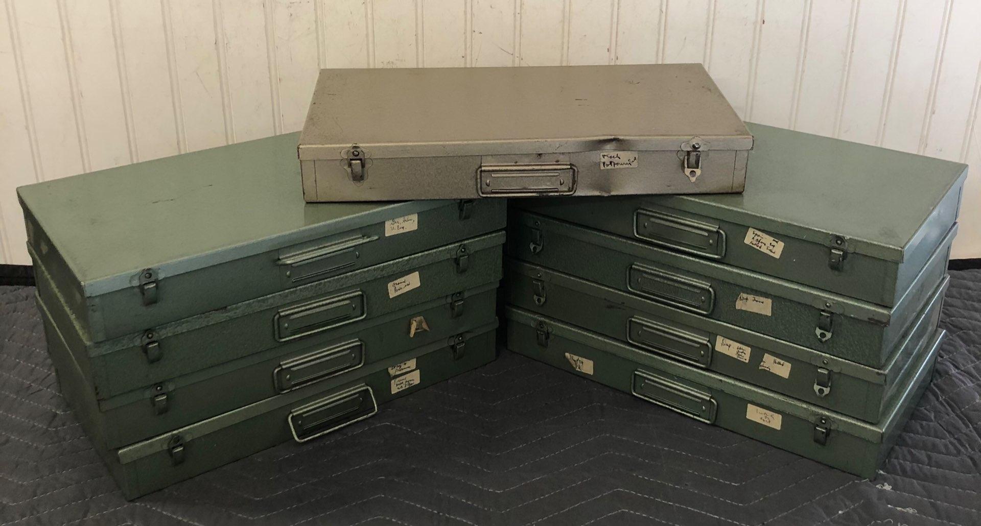 Lot # 206 - Vintage Photo Slides Metal Storage Boxes with 57 Vintage Slides