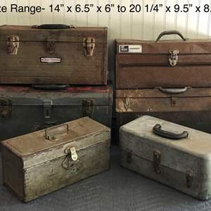 Lot # 208 - Vintage, Rustic Tool Boxes - 6 Total