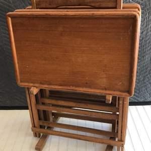 Lot # 209 - Vintage Teak T.V. Tray Set