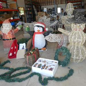 Auction Thumbnail for: Lot # 123 - Beautiful Ceramic Nativity Scene, 6' Lighted Christmas Tree & Large Lighted Santa, Animals, Snowman & More