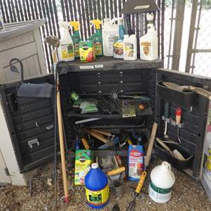 Auction Thumbnail for: Lot # 385 - Stanley Storage Cabinet, Bug Zapper & Gardening Supplies