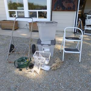 Auction Thumbnail for: Lot # 21 - Metal Cart, Airtight Storage Containers, Hose & Bike Basket