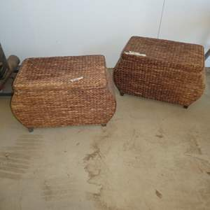 Auction Thumbnail for: Lot # 100- Two Adorable Wicker Storage Benches