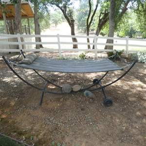 Auction Thumbnail for: Lot # 304 - Nice Large Hammock with Metal Stand