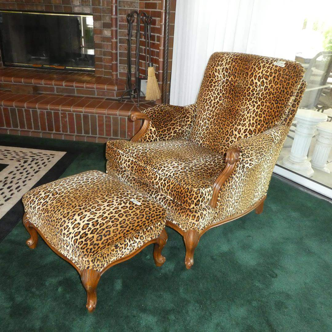 Lot # 100 - Vintage Leopard Print Arm Chair w/Carved Wood Accents & Ottoman (main image)