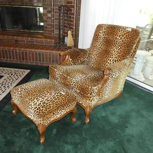 Lot # 100 - Vintage Leopard Print Arm Chair w/Carved Wood Accents & Ottoman