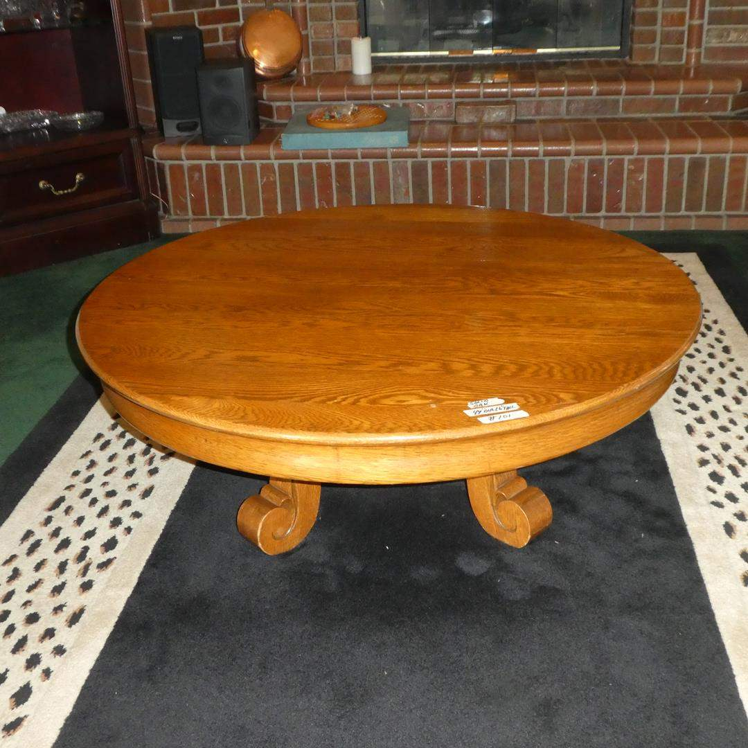 Lot # 101 - Round Vintage Solid Oak Coffee Table (main image)