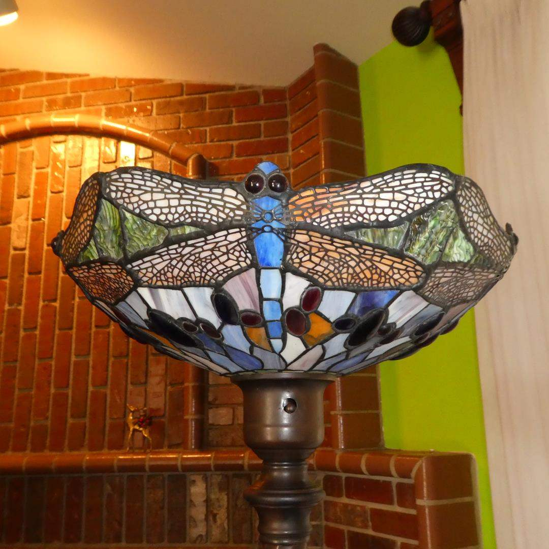 Lot # 102 - Dragonfly Stained Glass Metal Base Floor Lamp (main image)