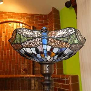 Lot # 102 - Dragonfly Stained Glass Metal Base Floor Lamp